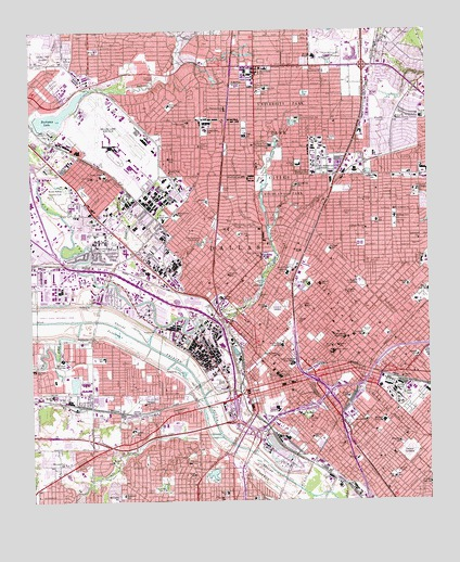 Dallas, TX USGS Topographic Map