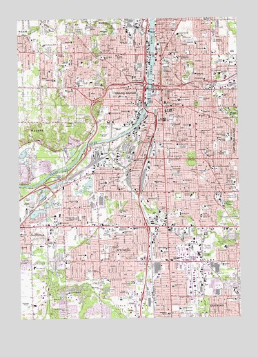Grand Valley Pew Campus Map.Grand Rapids West Mi Topographic Map Topoquest