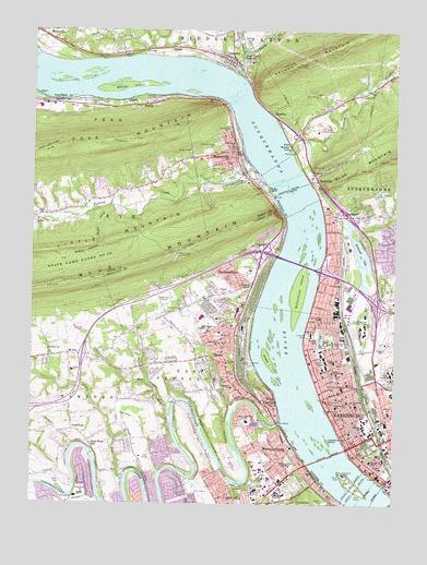 Harrisburg West, PA Topographic Map - TopoQuest