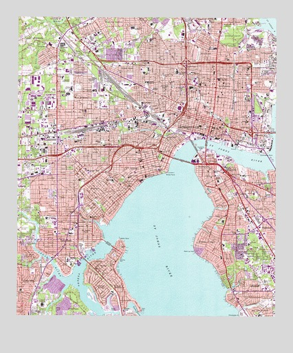 Jacksonville FL Topographic Map TopoQuest - Florida elevation map