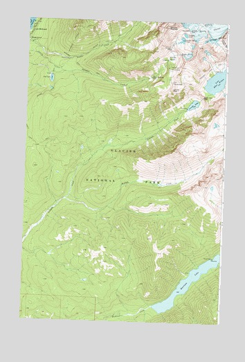Lake McDonald East, MT USGS Topographic Map