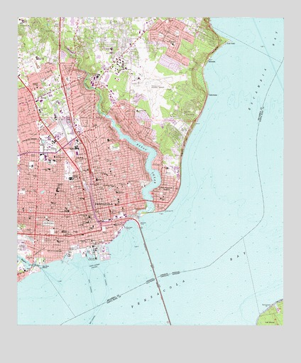 Map Of Pensacola Florida.Pensacola Fl Topographic Map Topoquest