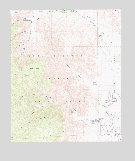 Borrego Palm Canyon, CA USGS Topographic Map