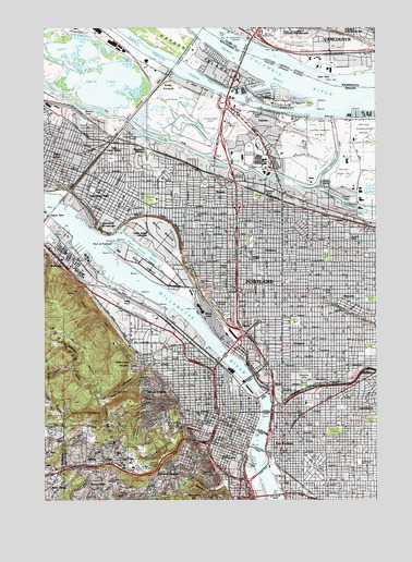 Portland OR Topographic Map TopoQuest - Topographical map of oregon