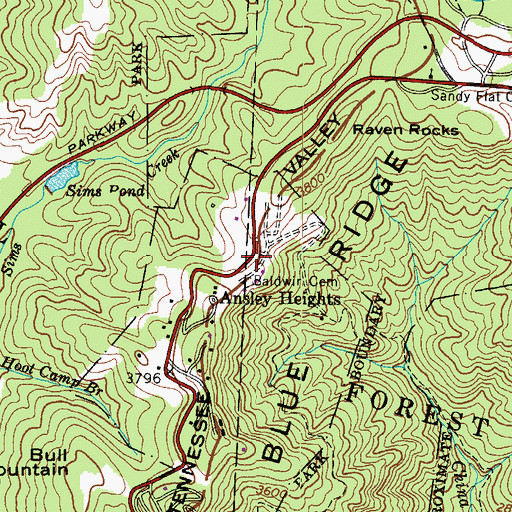 Topographic Map of Baldwin Cemetery, NC