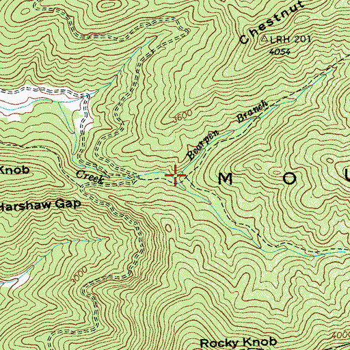 Topographic Map of Bearpen Branch, NC