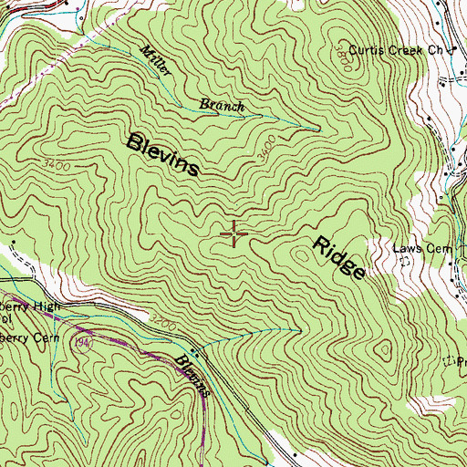 Topographic Map of Blevins Ridge, NC