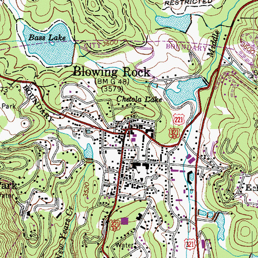 Topographic Map of Blowing Rock, NC