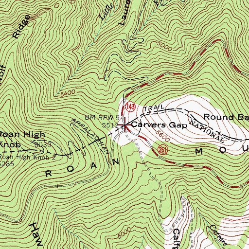 Topographic Map of Carvers Gap, NC