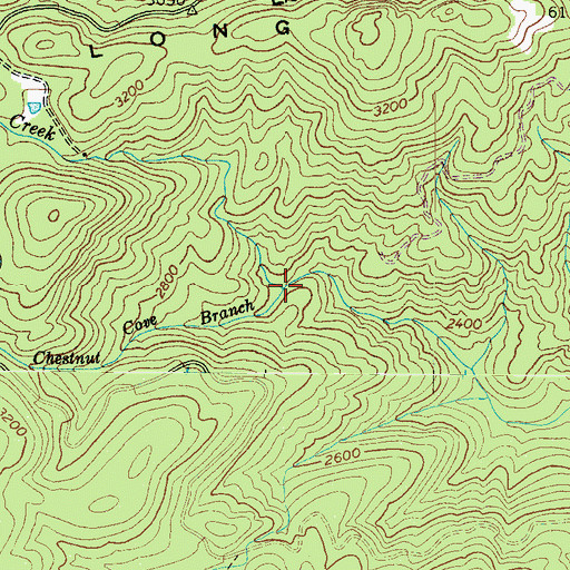 Topographic Map of Chestnut Cove Branch, NC