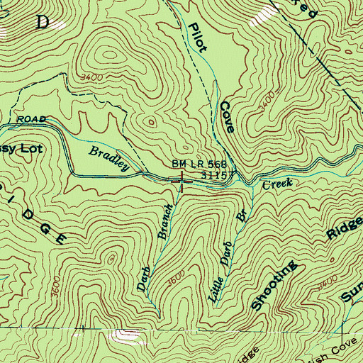Topographic Map of Darb Branch, NC