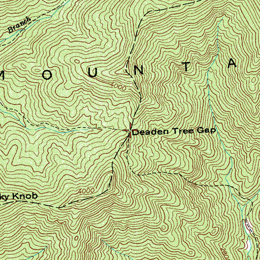 Topographic Map of Deaden Tree Gap, NC