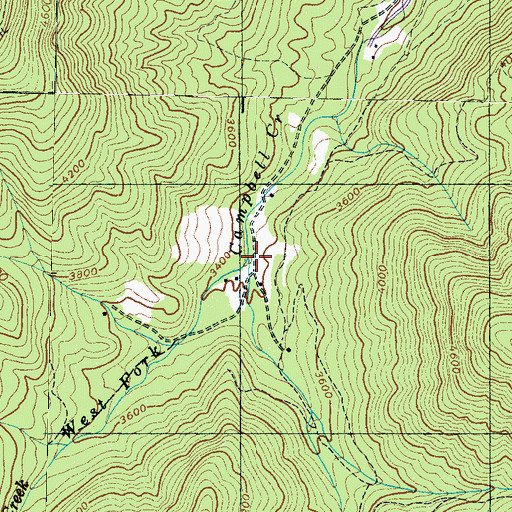 Topographic Map of East Fork Campbell Creek, NC
