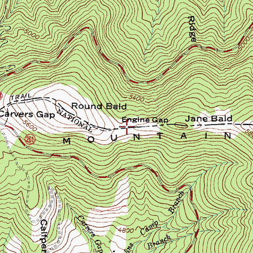 Topographic Map of Engine Gap, NC