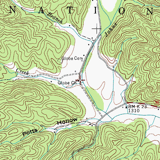 Topographic Map of Globe Church, NC