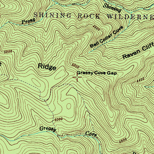 Topographic Map of Grassy Cove Gap, NC