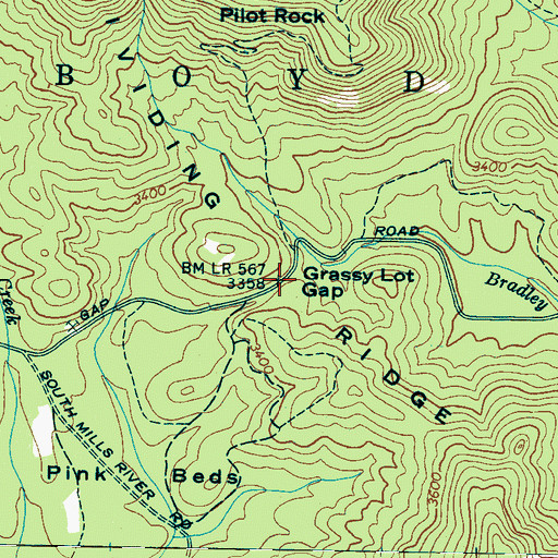 Topographic Map of Grassy Lot Gap, NC