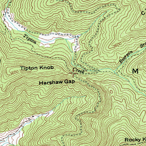 Topographic Map of Harshaw Gap, NC