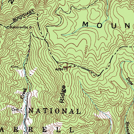 Topographic Map of Iron Mountain, NC