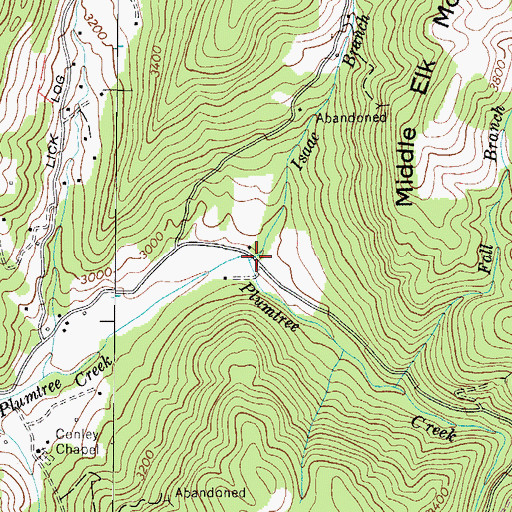 Topographic Map of Isaae Branch, NC