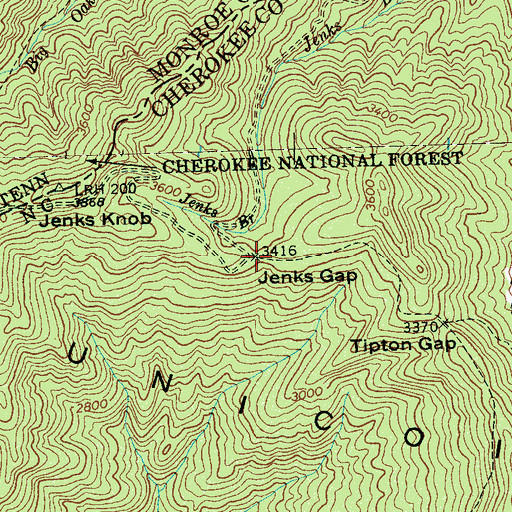 Topographic Map of Jenks Gap, NC