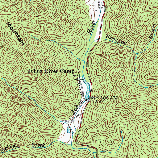 Topographic Map of Johns River Camp, NC
