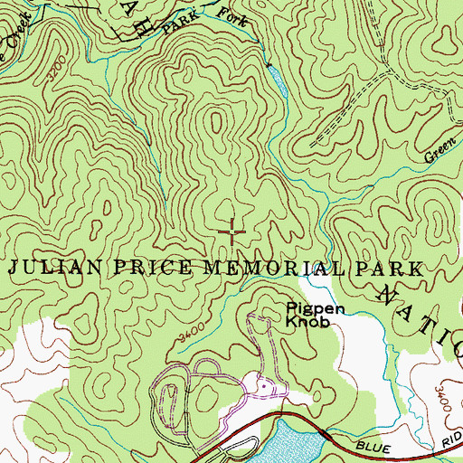 Topographic Map of Julian Price Memorial Park, NC