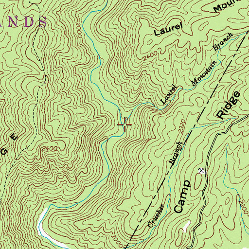 Topographic Map of Laurel Mountain Branch, NC