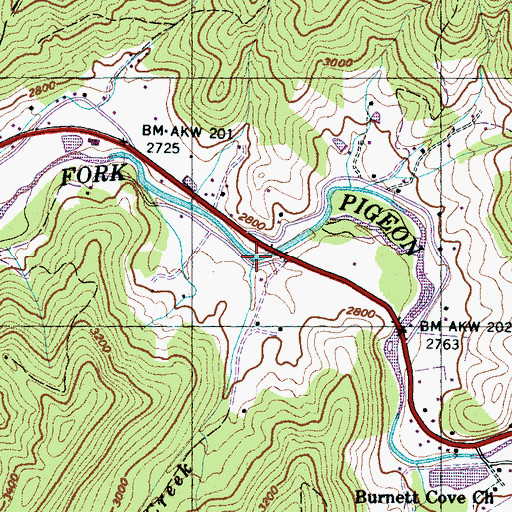 Topographic Map of Lenoir Creek, NC