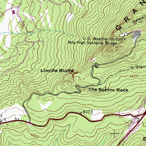 Topographic Map of Linville Bluffs, NC