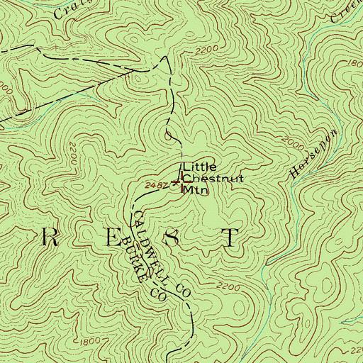 Topographic Map of Little Chestnut Mountain, NC