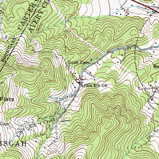 Topographic Map of Little Elk Church, NC