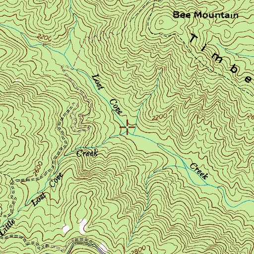Topographic Map of Little Lost Cove Creek, NC