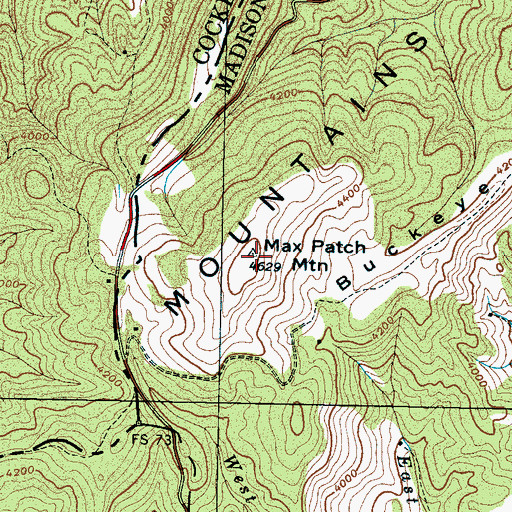 Topographic Map of Max Patch Mountain, NC