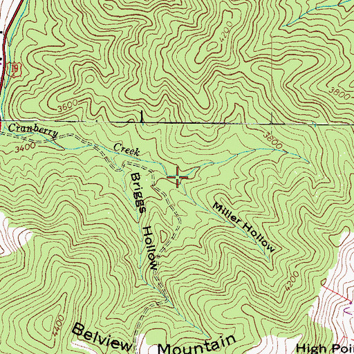 Topographic Map of Miller Hollow, NC