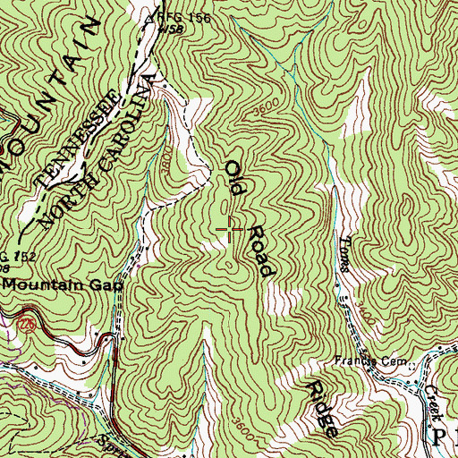 Topographic Map of Old Road Ridge, NC