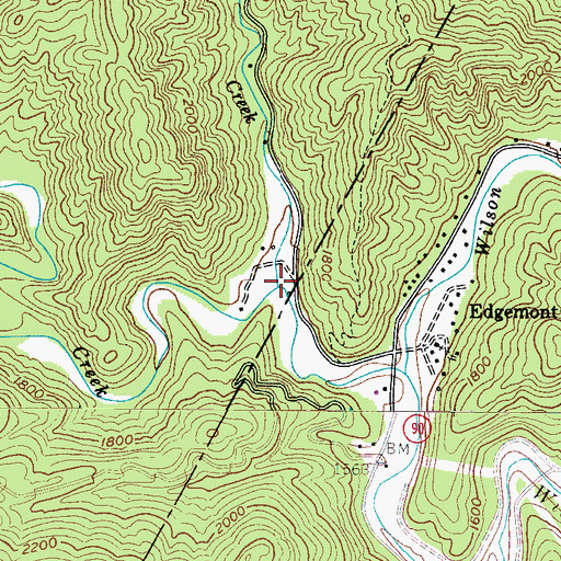 Topographic Map of Rockhouse Creek, NC