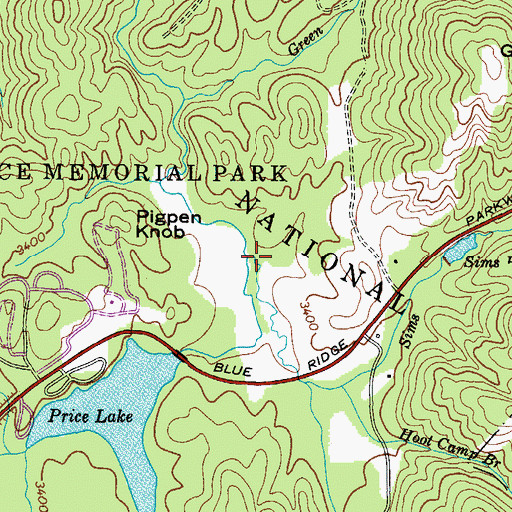 Topographic Map of Sims Creek, NC