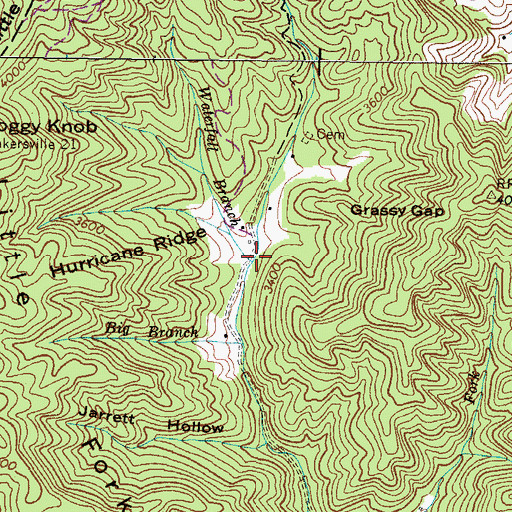 Topographic Map of Waterfall Branch, NC