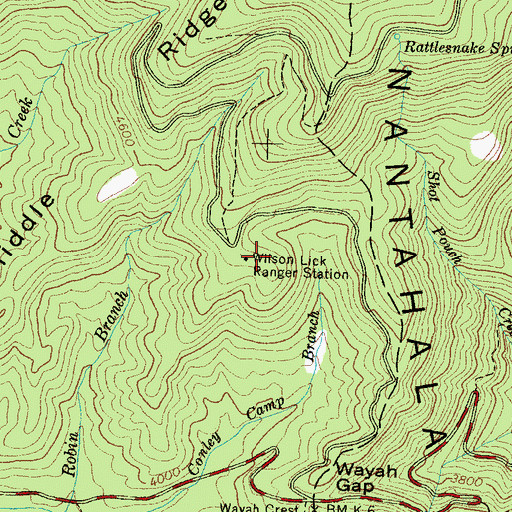 Topographic Map of Wilson Lick Ranger Station, NC