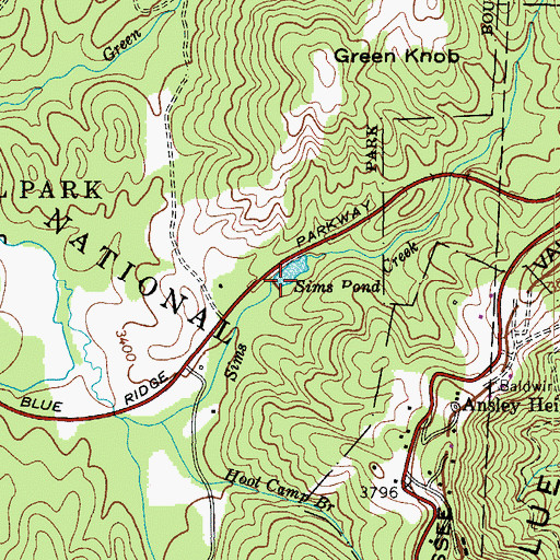 Topographic Map of Sims Pond, NC