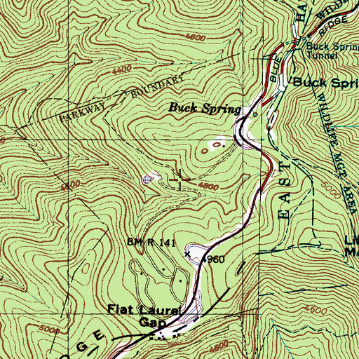 Topographic Map of Mount Pisgah Recreation Site, NC