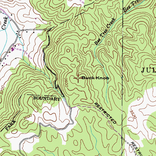 Topographic Map of Buck Knob, NC