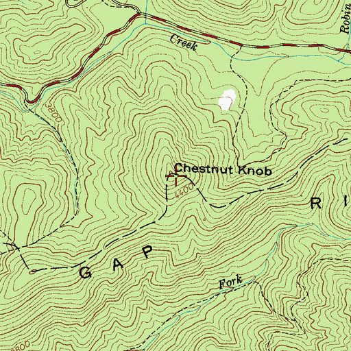 Topographic Map of Chestnut Knob, NC
