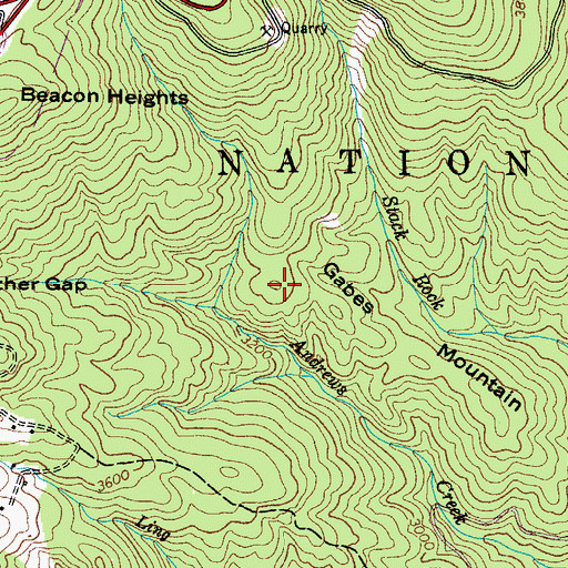 Topographic Map of Gabes Mountain, NC