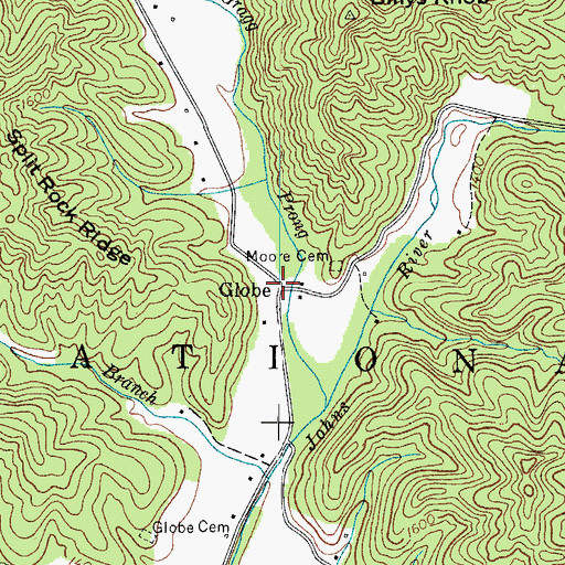 Topographic Map of Globe, NC