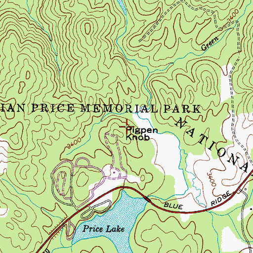 Topographic Map of Pigpen Knob, NC