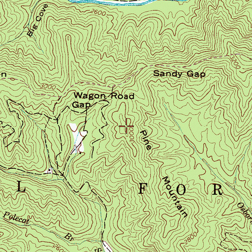 Topographic Map of Pine Mountain, NC
