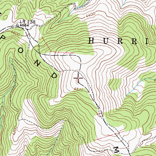 Topographic Map of Pond Mountain, NC