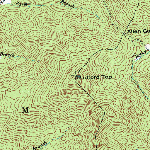 Topographic Map of Radford Top, NC